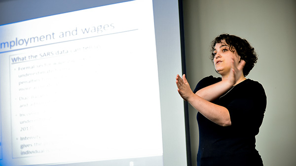 Kezia Lilenstein speaks at an SA-TIED work shop