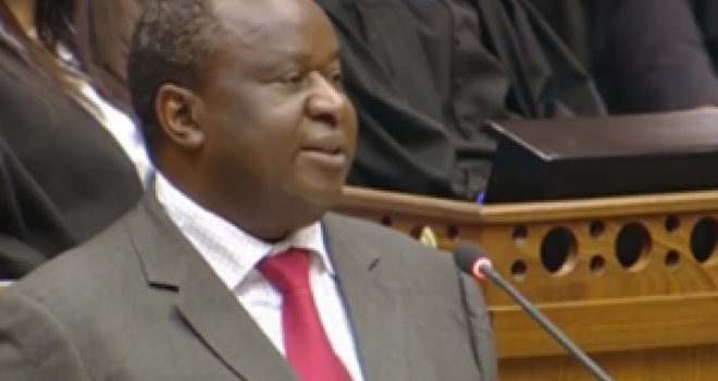Finance Minister Tito Mboweni delivers a speech to parliament